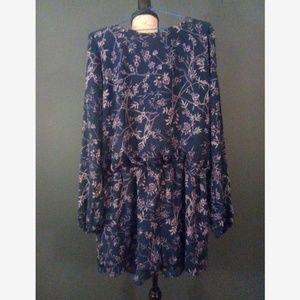 Lucca Couture Dark Blue Purple Floral Print Romper